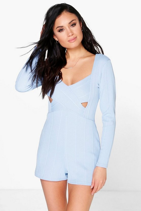 Ava Cross Front Long Sleeved Bandage Playsuit