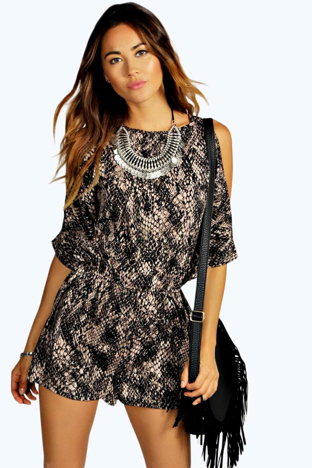 Nia Snake Print Cold Shoulder Playsuit