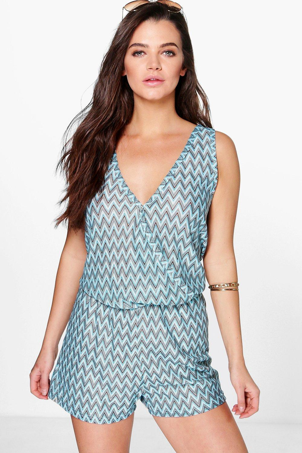 Product photo of Zig zag knitted festival playsuit blue