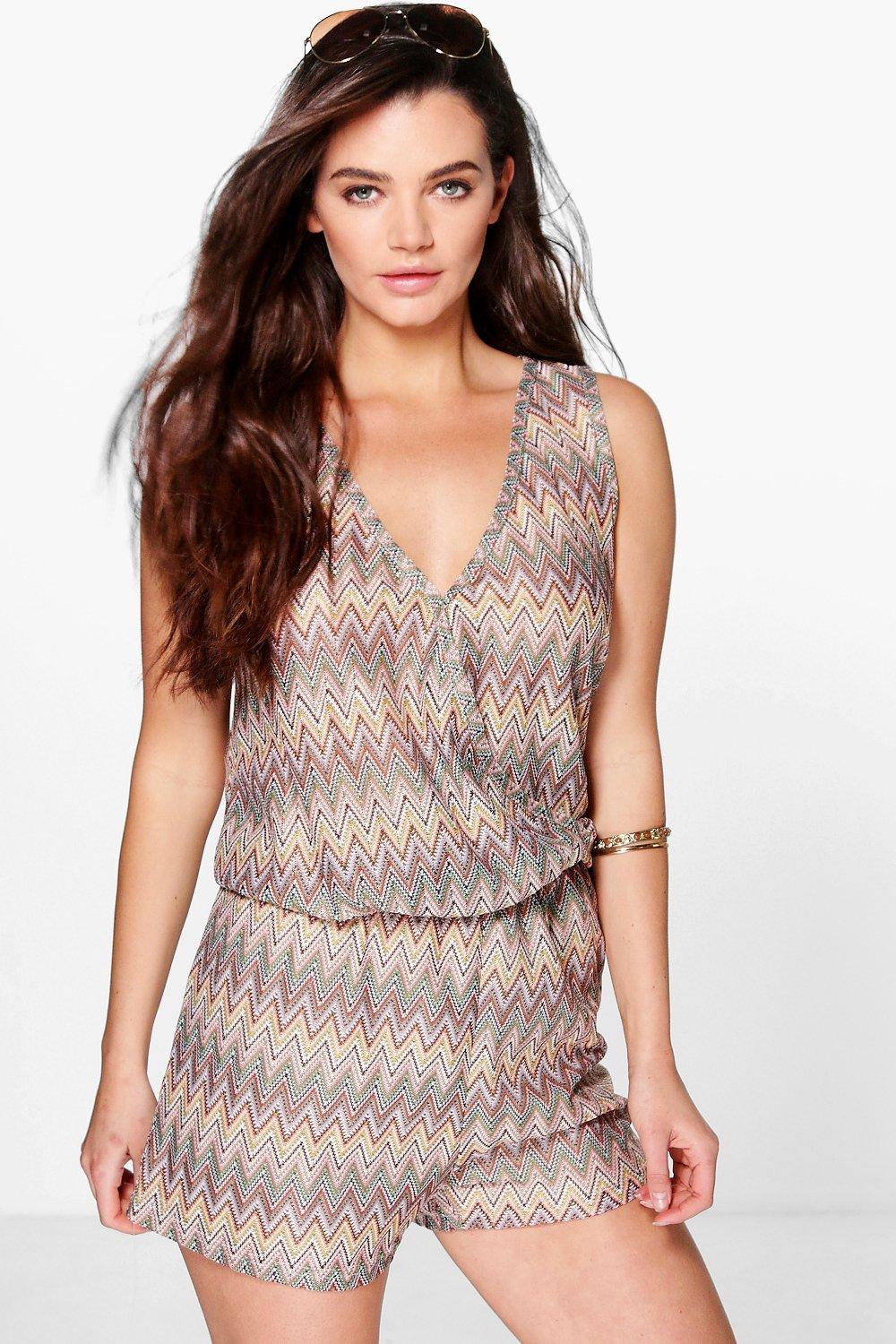 Product photo of Zig zag knitted festival playsuit brown