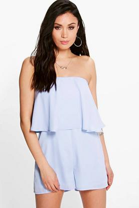 Double Layer Woven Strapless Playsuit
