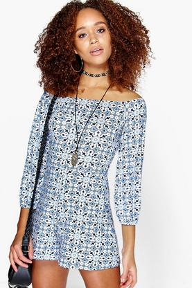 Nia Blue Print Off The Shoulder Playsuit