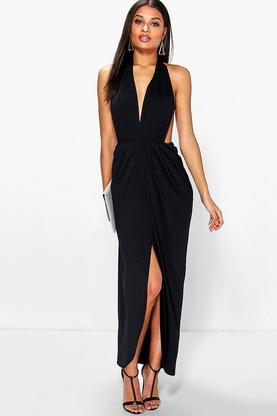 Nikole Halterneck Pleated Maxi Dress