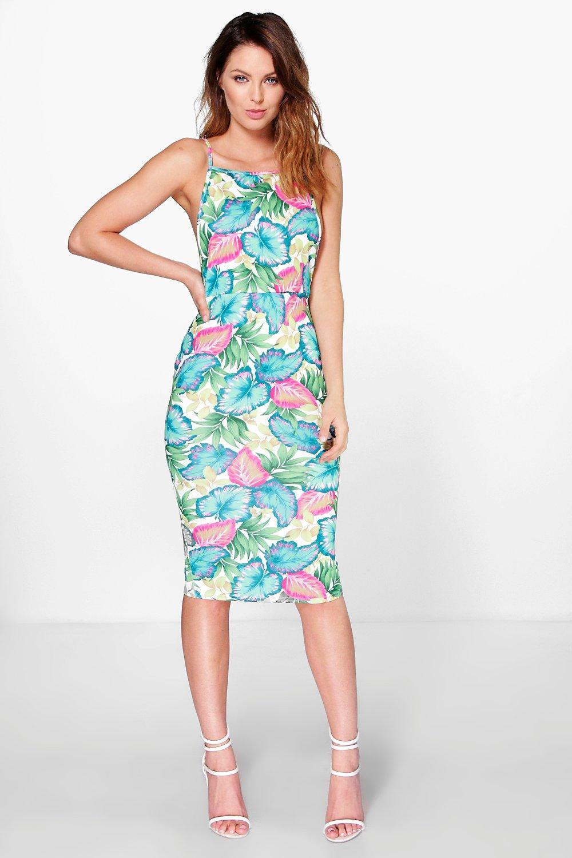 Open Back Tropical Midi Dress - multi