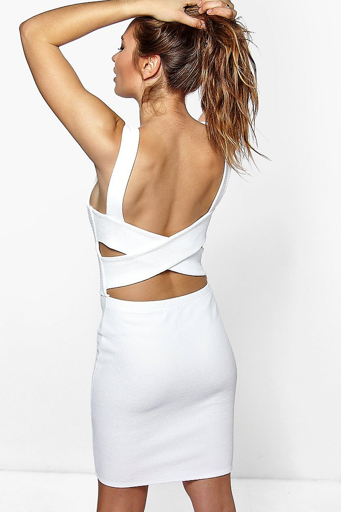 Manuella Cross Back Textured Bodycon Dress