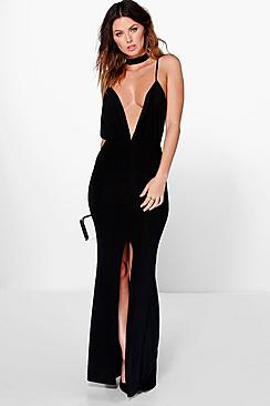 Megan Neck Band Detail Plunge Maxi Dress