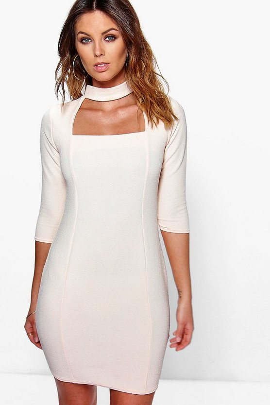 Lucretia High Neck Cut Out Midi Bodycon Dress