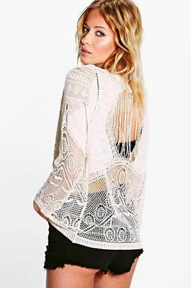 Alexis Open Back Crochet Long Sleeve Top