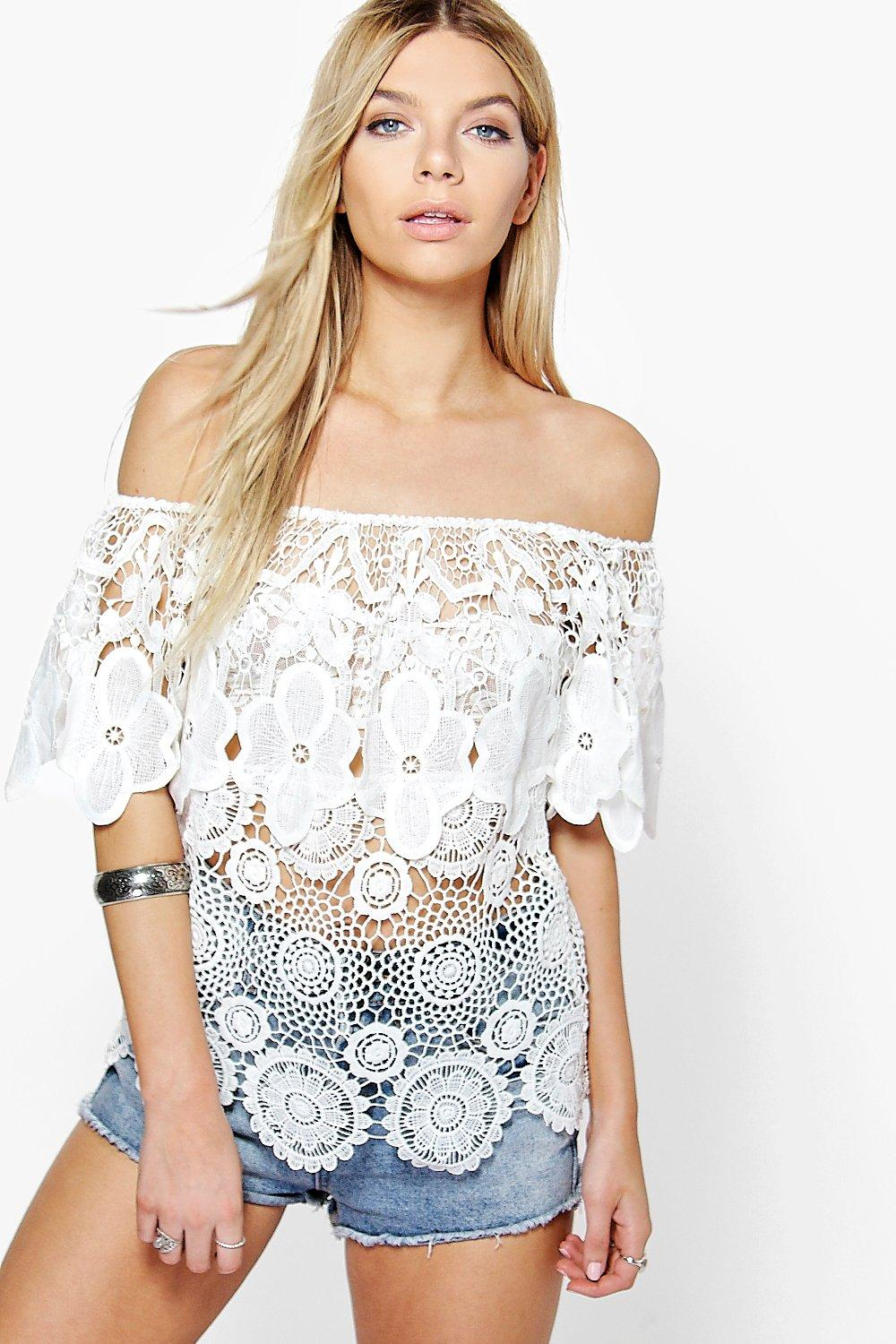 Lillie Off The Shoulder Crochet Floral Top