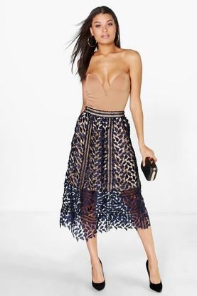 Honer Boutique Crochet Lace Midi Skirt