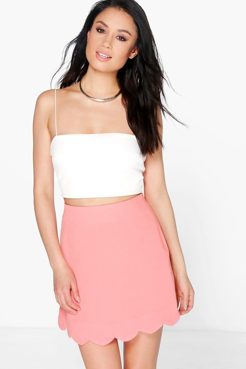 Scalloped Hem Crepe A Line Skirt  coral