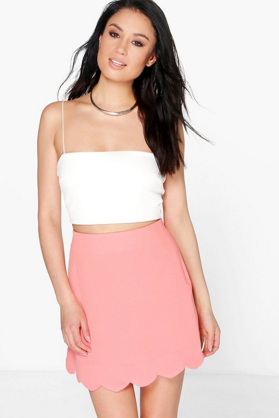 Gianna Scalloped Hem Crepe A Line Skirt