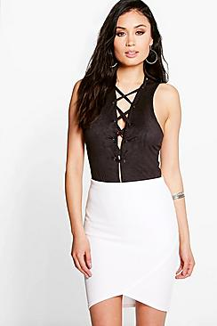 Carlotta Curved Hem Ribbed Mini Skirt