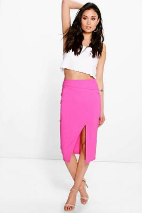 Nolita Asymmetric Split Midi Skirt
