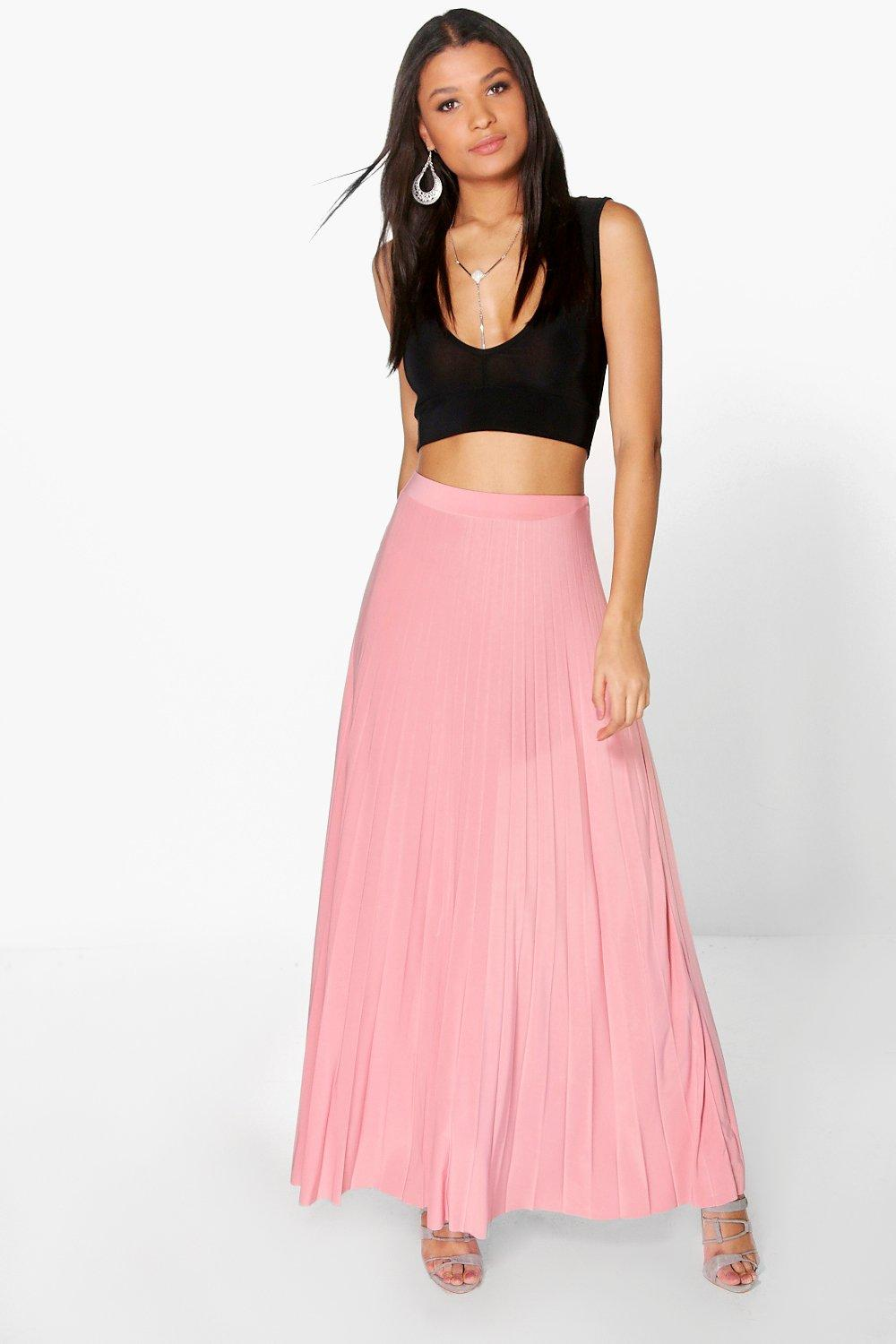 Tia Pleated Slinky Maxi Skirt
