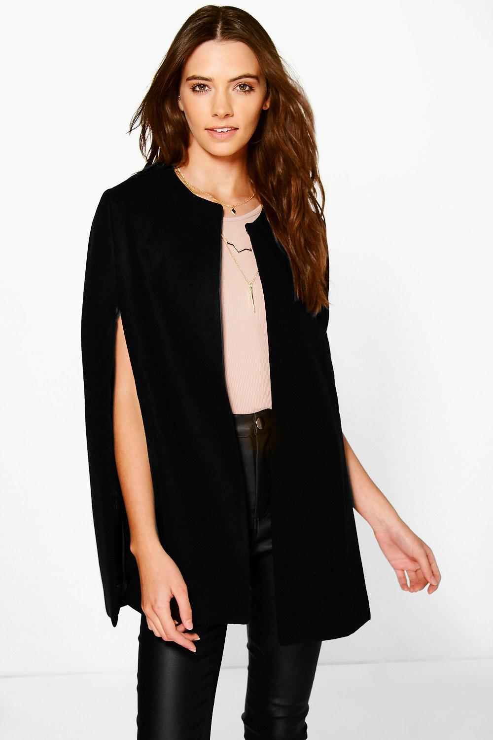 Jade Wool Look Cape Coat