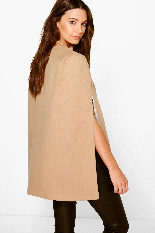 boohoo jade manteau cape effet laine pour femme ebay. Black Bedroom Furniture Sets. Home Design Ideas
