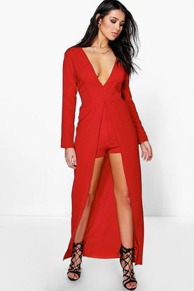 Ann Maxi Overlay Plunge Long Sleeve Playsuit