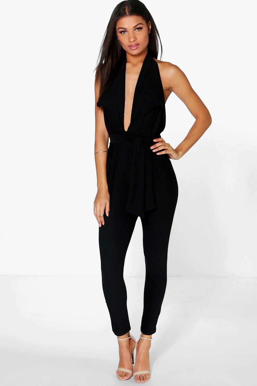 Halter Neck Deep Plunge Jumpsuit  black