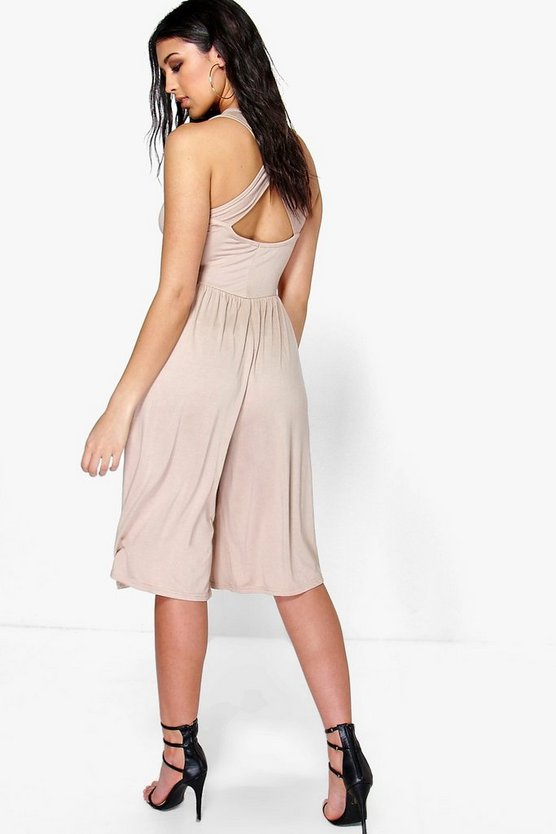 Linda Cross Back Jersey Culotte Jumpsuit