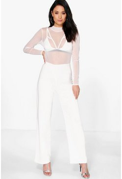 Erin High Neck Mesh Wide Leg Jumpsuit