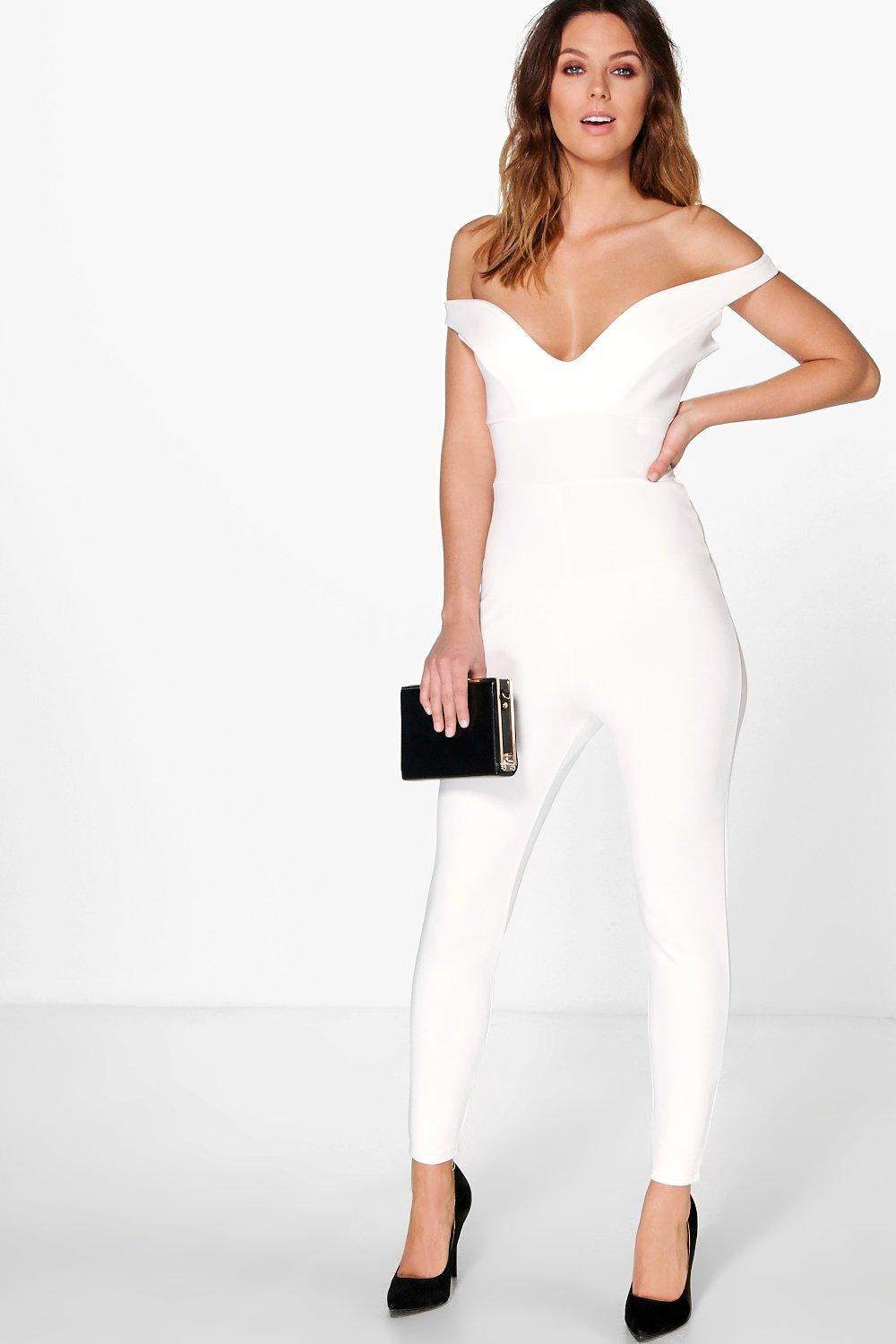 Amy Off The Shoulder Sweetheart Neck Jumpsuit | Boohoo