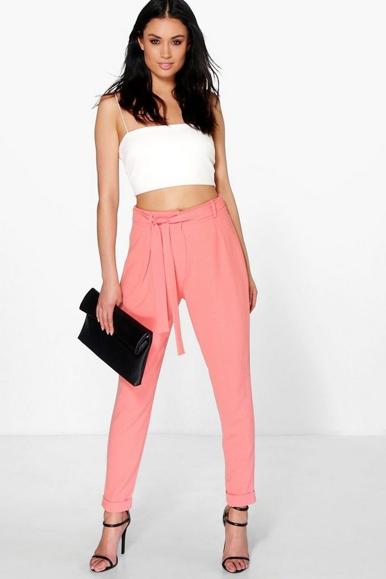 Rosa Tie Waist Tailored Slim Fit Trousers