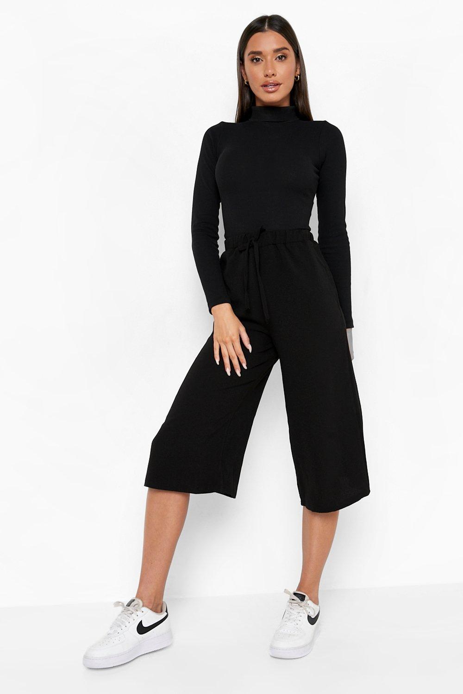 Womens Hosenrock aus Kreppstoff mit Taillenbindung - Schwarz - 40, Schwarz - Boohoo.com