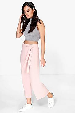 Loren Tie Waist Wide Leg Cropped Trousers