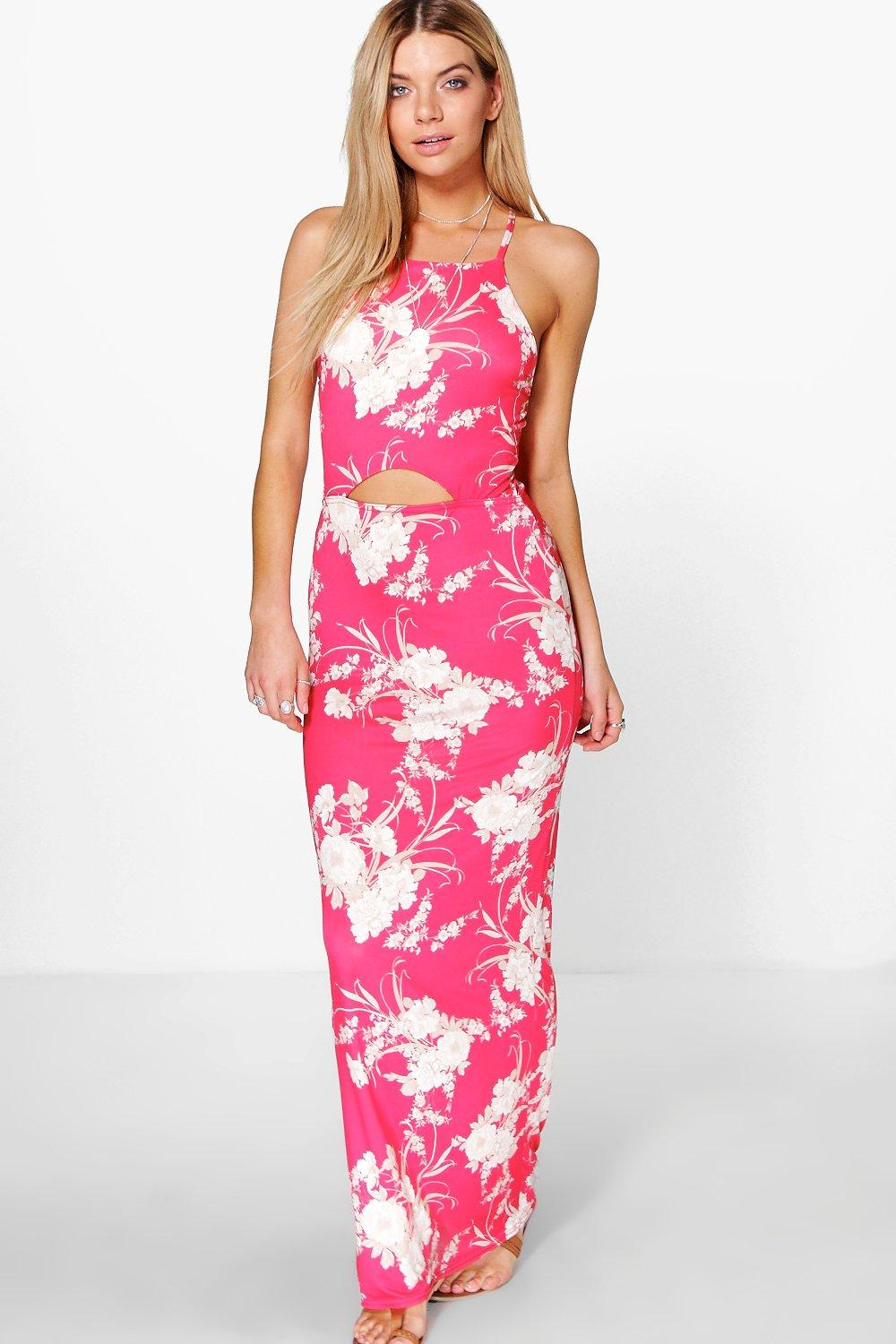 Trixie Strappy Oriental Cut Out Maxi Dress