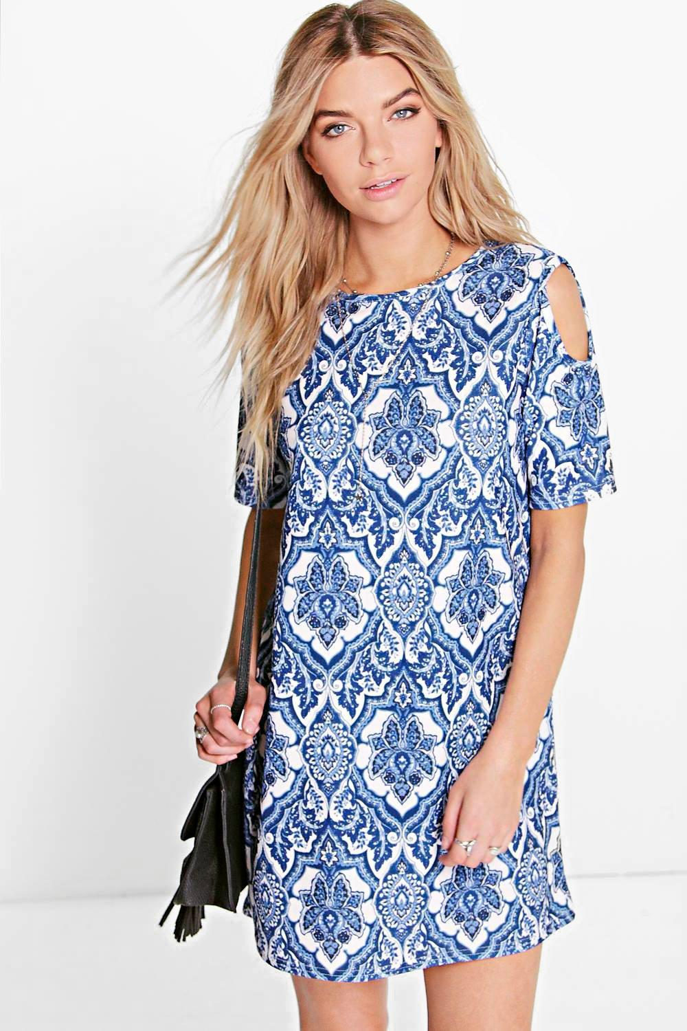 Willow Paisley Cold Shoulder Shift Dress