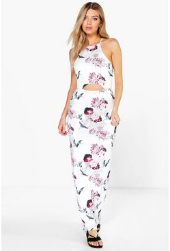 Kasey Strappy Floral Cut Out Maxi Dress