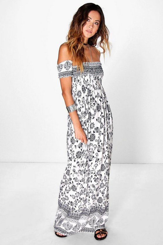 Melissa Off The Shoulder Rouched Maxi Dress