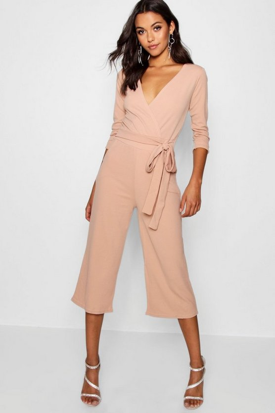 Roll Sleeve Relaxed Culotte Jumpsuit