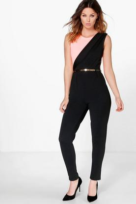Laura Contrast Colour Block Belted Jumpsuit