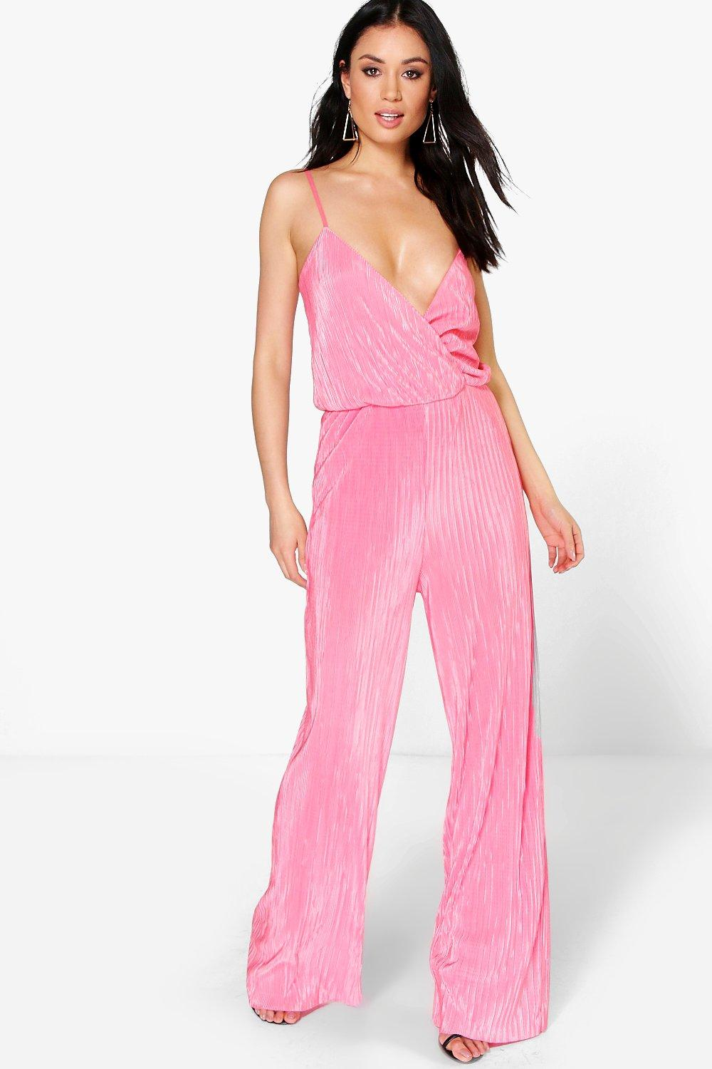 Olivia Strappy Wide Leg Crinkle Jumpsuit