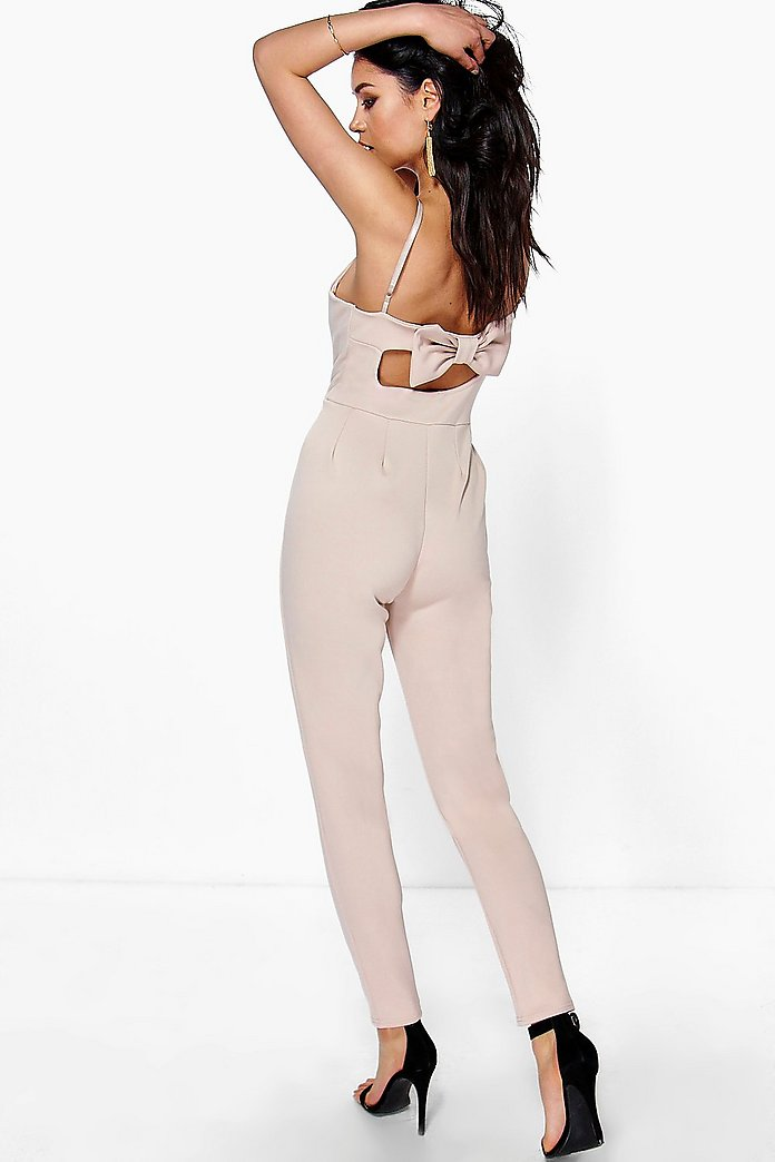 Juliet Bow Back Strappy Skinny Leg Jumpsuit