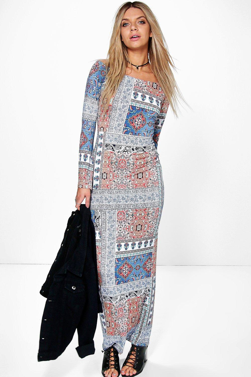 Sophia Off The Shoulder Bell Sleeve Maxi Dress