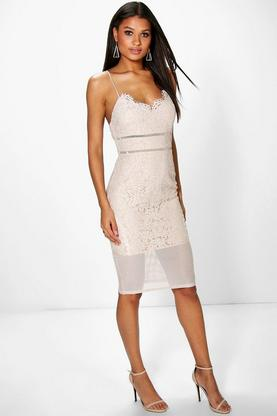 Sabina All Over Lace Panelled Midi Dress