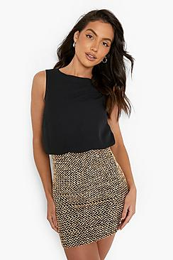 Delia 2 in 1 Chiffon Top Sequin Skirt Bodycon Dress