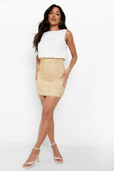 Ivory 2 in 1 Chiffon Top Sequin Skirt Bodycon Dress
