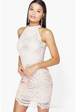 Aileen Crochet Lace Sleeveless Bodycon Dress
