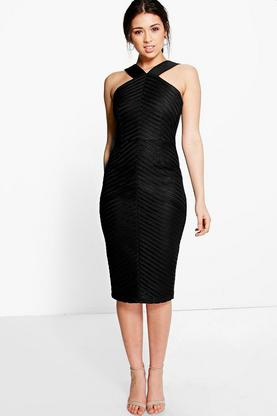 Boutique Simonne Stripe Mesh Midi Dress
