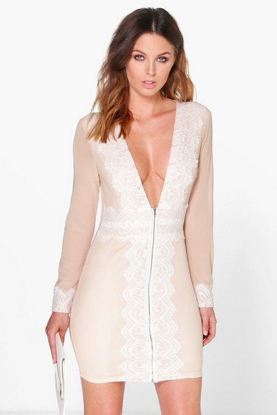 Boutique Ara Lace Trim Zip Front Bodycon Dress