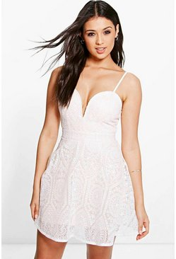 Boutique Dia Organza Lace Skater Dress