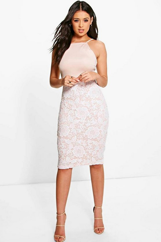 Boutique Eli Crochet Lace Midi Bodycon Dress