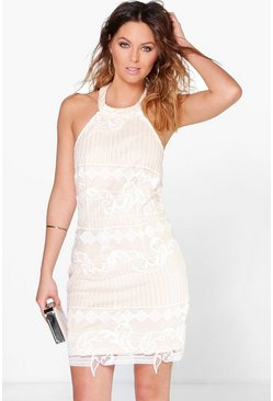 Boutique Mara Embroidered Organza Bodycon Dress