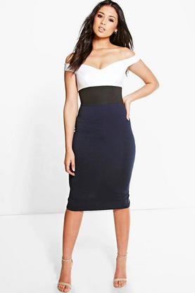 Arisa Colour Block Off Shoulder Midi Bodycon Dress