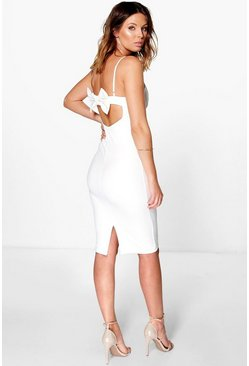 Enia Strappy Plunge Neck Bow Back Midi Dress