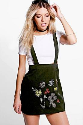 Alison Embroidered Drop Waist Pinafore Dress